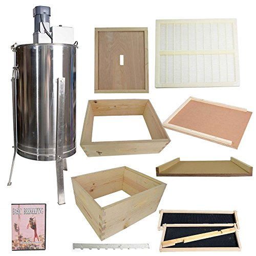 Goodland Bee Supply Complete 4 Tier Bee Hive Kit Including Electric Goodland Bee Supply 2 Frame Honey Extractor - GL-2BK2SK-QEX/ER