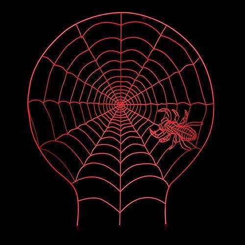N/A Kreative Spider Web Nachtlicht für Kinder-3d Nachtlicht Zimmer Dekor Nacht Licht Illusion Lampe, LED Gradient Touch Bunte Nachtlicht, Acryl Wecker Basislampe