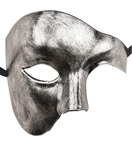 KEFAN Mascarilla para Hombre Máscara para Disfraz Fantasma de la ópera Máscara para Rostro (Negro Plata)