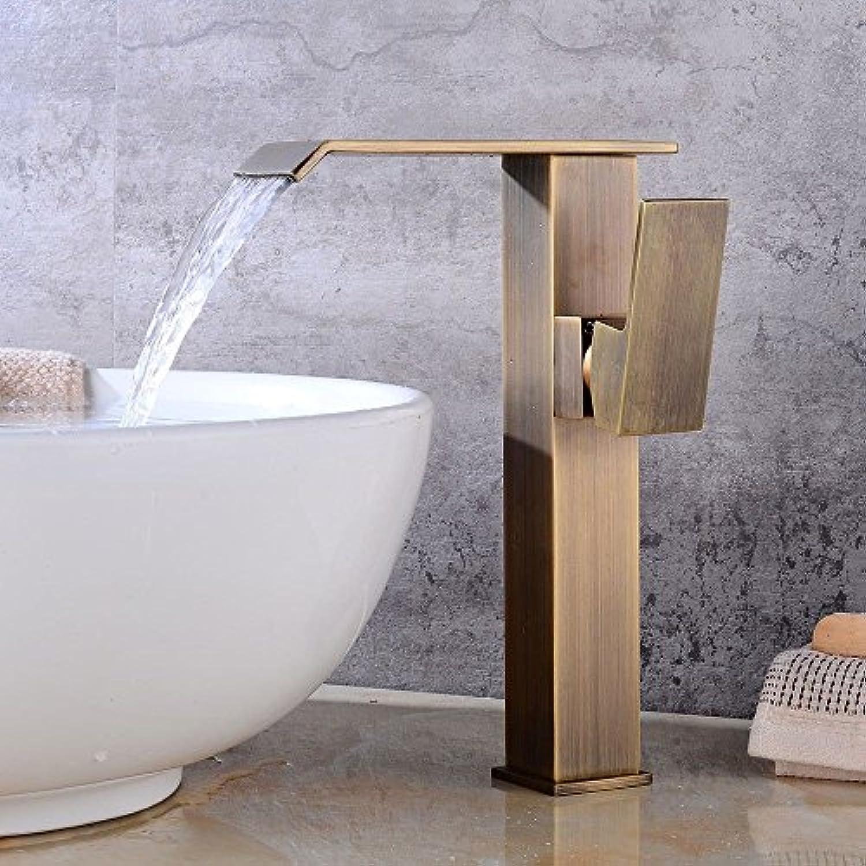 MNLMJ Moderne einfacheKupfer hei und kalt Wasserhhne Küchenarmatur Vintage Messing Badezimmer über Aufsatzbecken einzigen Griff EIN Loch Keramikventil heies und kaltes Wasser Bad Becken Wasserhahn