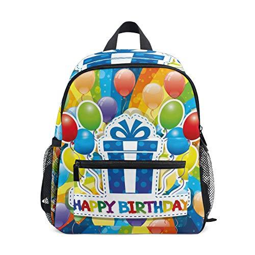 Mochila para niños y niñas Mini Mochila Bolsa de Viaje con Clip para el Pecho Regalo de cumpleaños Globos Coloridos del Arco Iris