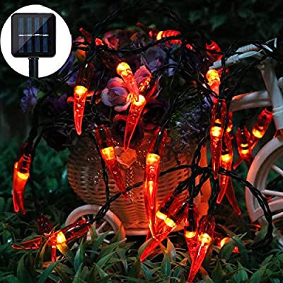 Dreamworth Solar Red Chili String Lights, 30 LED Chili Shape Fairy String Lights Solar Operated String Lights for Wedding, Chinese New Year,Spring Festival,Party Decoration,Christmas