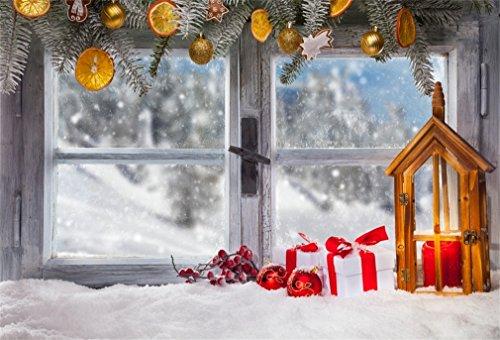 YongFoto 5x3ft Fotografie Achtergrond Kerstmis Bal Geschenken Lantaarn Kaars Snoeien Vintage Venster Pine Citroen Winter Foto Achtergrond Fotografie Video Party Bruiloft Portret Photo Studio Props