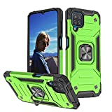 for Galaxy A12 5G Case Heavy Duty Hybrid 360 Rotating Ring Stand Magnetic Kickstand Military Grade Anti-Fall Protection Shockproof Hard Phone Case Compatible with Samsung Galaxy a12 6.5 Inch (Green)