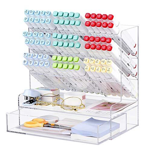 POPRUN Organizer da scrivania in acrilico,Portapenne per scrivania,organizer trucchi con cassetto,ästhetisch per la scuola, l'ufficio e l'aula (trasparente)