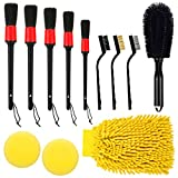 Fancytimes 12pcs Car Detailing Brush Set, Auto Exterior Cleaning Kit Includes Wire Brush