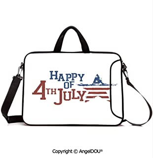 AngelDOU Customized Neoprene Printed Laptop Bag Notebook Handbag Patchwork Style American Stars and Stripes Cute Kids Baby Pride Pattern Compatible with mac air mi pro/Lenovo/asus/acer Ruby Blue