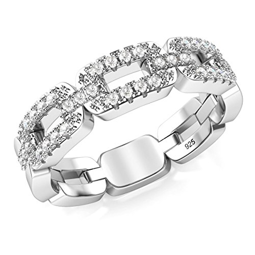 Metal Factory Sz 8 Sterling Silver Cubic Zirconia Chain Link CZ Band Ring