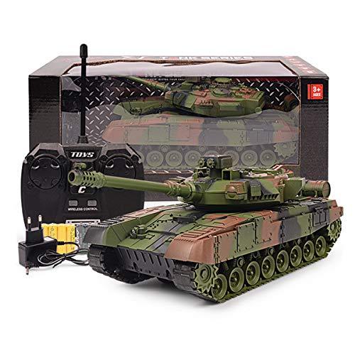 XIAOKEKE RC Réservoir avec Câble De Chargeur USB Télécommande Panzer Tank 1:24 Tigre Allemand avec Son, Tourelle Rotative, Est Votre Meilleur Cadeau De Vacances,Vert