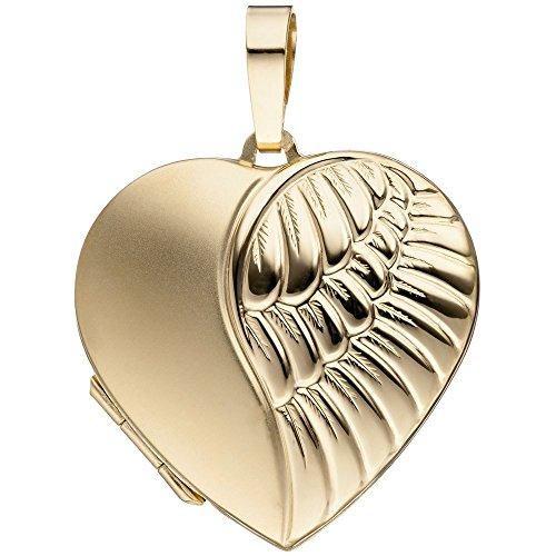 Medaillon für 2 Fotos Amulett Anhänger Herz zum Öffnen Flügel 333 Gold Gelbgold