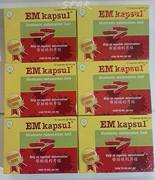 EM Kapsul Natural Herbal Help To Regulate Menstruation 6Box X 12 Capsule 72 Capsule 550mg Jamu