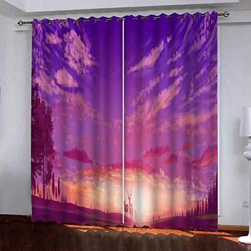 WLHRJ Cortina Opaca en Cocina el Salon dormitorios habitación Infantil 3D Impresión Digital Ojales Cortinas termica - 160x160 cm - Alce del Bosque púrpura
