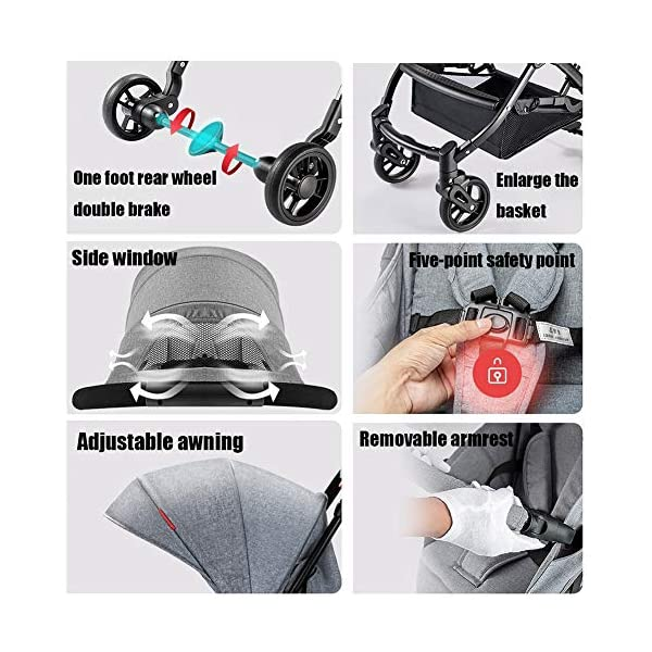 CYCPACK Gray Prams And Pushchairs From Birth - Quick Folding Portable Baby Stroller, Mothercare Journey Travel System Suitable for Babies Aged 0~3 CYCPACK Safe:With sturdy aluminum alloy, compact body and five-point seat harness,each stroller has been pressure tested to provide security for each baby.After using for a period of time, be sure to add lubricant to the bearings of the four wheels to prevent the wheels from being damaged by force. Quality and Design:The backrest of the stroller supports sitting, half lying, lying,all three angles,lengthened and widened sleeping basket. Four wheel independent shock absorbing and built-in bearings make it smoother and quieter. COMFORTABLE: Thanks to backrest and footrest adjustable into lying position, sun hood, practical cup holder tray, and large shopping basket both the parents and the child will be comfy 7