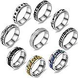 9pcs Multi-Style Stainless Steel Spinner Ring Set Fidget Ring for Women - Fidget Rings for Anxiety for Women - Anxiety Ring for Women - Eboy Ring Anxiety Rings for Men - Anxiety Rings for Women Size 8