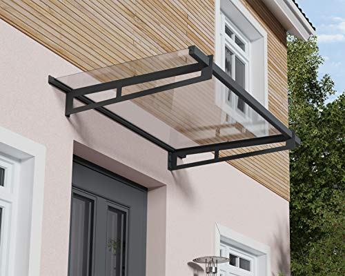 Palram Bremen Door Canopy – Modern Style Outdoor Awning - Aluminum Frame & Crystal Clear Roof...