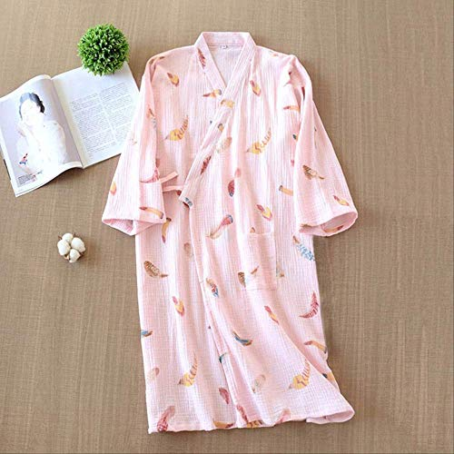 XFLOWR Lente & Zomer Losse Dunne Huiskleding Vrouwen Comfort Gaas Katoen Robes Kleurrijke Veer Gedrukt Dames Kimono Casual Wear