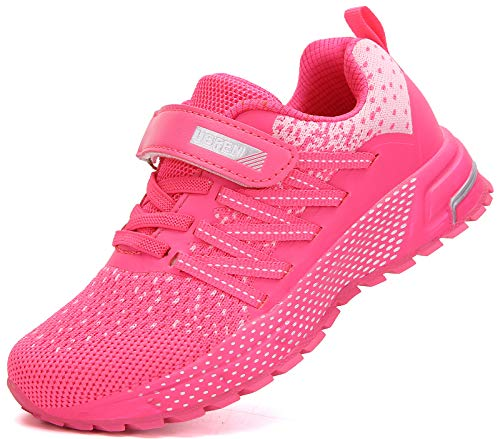KUBUA Boys Sneakers for Kids Athletic Girls Running Tennis Shoes Pink
