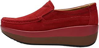 LATINDAY ◕‿◕ Women's Stylish Color Block Square Toe Thick Sole Platform Slip On Loafer Shoes