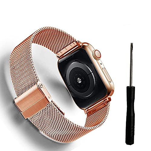 Watch Bands Milanese Watchband Compatible with Apple Watch 38mm 42mm 44mm 40mm Stainless Steel Women Men Bracelet Band Strap Compatible with IWatch 3 4 5 6 SE Nylon