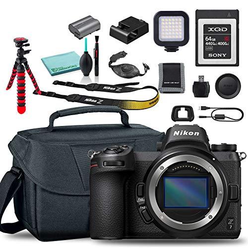 Nikon Z 7 Mirrorless Digital Camera (Body Only) (1591) USA Model + Camera Bag + Sony 64GB XQD G Series Memory Card + Hand Strap + Portable LED Video Light + Memory Card Wallet + More
