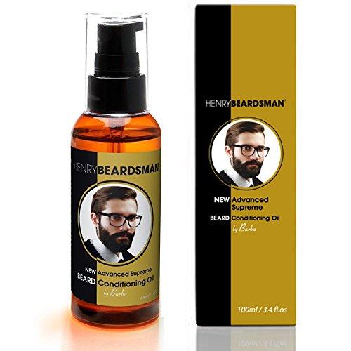 Henry Beardsman - 100 ml Bartöl / Bart Conditioner - Hautfreundlich - Parfümiertem Bartöl ist aus Naturstoffen und hergestellt aus 100 % Bio-Arganöl, sagen Sie nein zu rauen oder trockenen Bärten: Nur weiche, geschmeidige und seidige Glätte - Lassen Sie Ihren Bart sich den ganzen Tag lang frischer und voller anfühlen, dank meines einzigartigen, parfümierten Bartöls. Zusätzlich zu einem großartigen Duft unterstützt mein Bartöl auch bei der Hydraisierung und Befeuchtung der Hautoberfläche