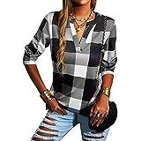 Blusa elegante de manga larga para mujer, cuello alto con patrón de cuadros, gris, S