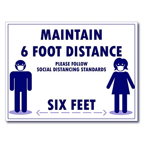 Covid 19 Social Distance 6 feet Poster Sign Laminated Extra Large (24x30)