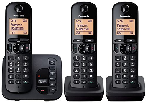Panasonic KX-TGC223EB Digital Cordless Phone with LCD Display - Black, Pack of 3