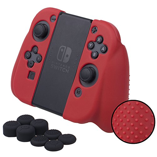 MXRC Silicone Rubber Studded Cover Skin case Anti-Slip Customize for Nintendo Switch Joy-Con Grip Controller x 1(red) + Joy-con Thumb Grips x 8
