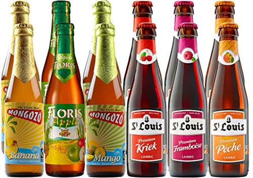 Fruchtbiere 12 belgische Fruchtbiere: Banane, Apfel, Mango, Kirsche, Himbeere, Pfirsich fruchtiges Bier, Party, Weiber, Frauen, Mädels, zum Nachtisch, als Sorbet, Fairtrade, leichtes Bier