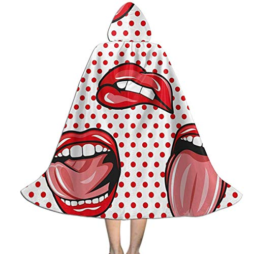 Ywan781jie Pop Art Style Sexy Kiss Woman Halloween Costumes Witch Wizard Cloak with Hat Kids Wizard Cape Child's Costume Party Cosplay Cape Role Play Dress Up for Kids Boys Girls