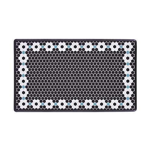 DASH Wellness Mat, 20'X34', Black Flower Tile Print