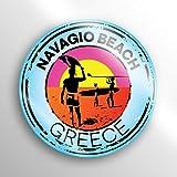 JMM Industries Navagio Beach Grécia calcomanía de Vinilo para Ventana de Coche, Paquete de 2, 3 Pulgadas, Redondo, Laminado Protector UV PDS1533