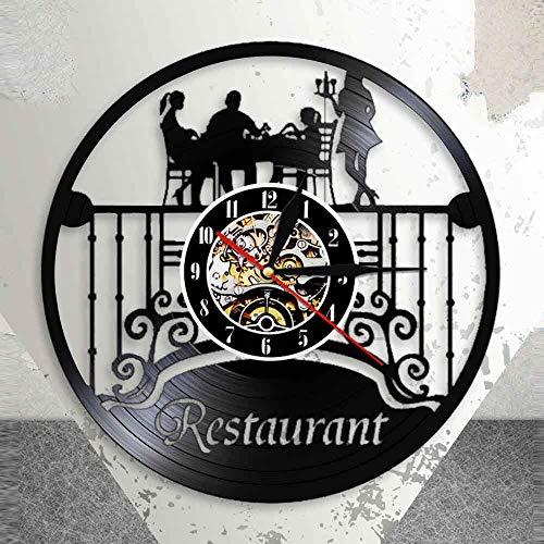 BFMBCHDJ Restaurante Business Logo Wall Decor Kitchen Vinyl LP Record Reloj de Pared Chef Food Eatery Vintage Design Reloj Iluminado con LED de 12 Pulgadas