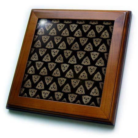 3dRose Black and Image of Gold Celtic Triangle Knots Pattern - Framed Tiles (ft_335916_1)