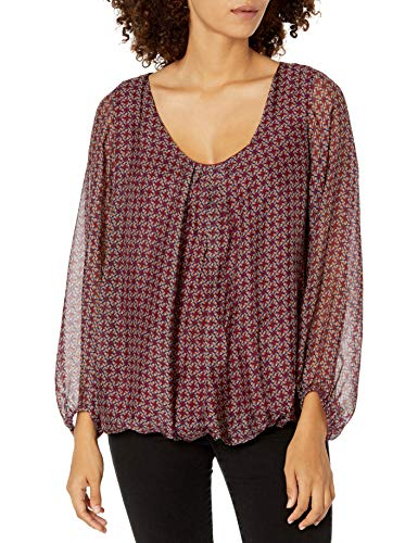 M Made in Italy Women's Allover Print Puff Sleeve Blouse, Wine, Large