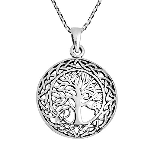 AeraVida Mystic Celtic Frame Eternal Tree of Life .925 Sterling Silver Pendant Necklace