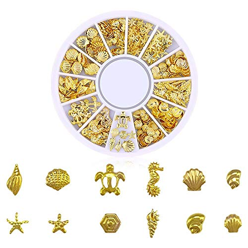 Nail Sticker 3D Ocean Nail Art Studs Gold Charms Summer Sea Metal Alloy Rivets Shell Starfish Hollow Star Decoration Nails (G)
