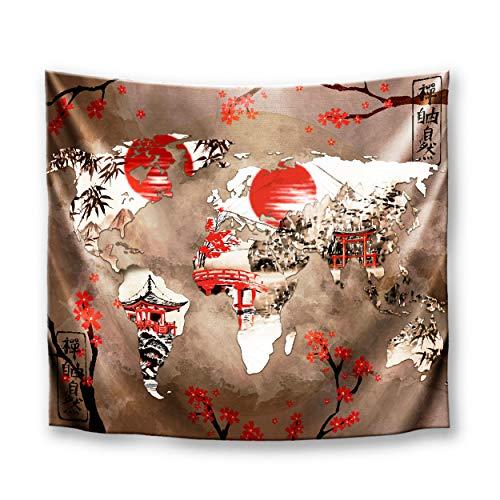 DekoArte TP01 - Tapiz Moderno De Pared Impresión Artística Digitalizada | Tela poliéster 100% decoración para Tu Salón o Dormitorio | Estilo Mapamundi o Mapa del Mundo Japonés | 150 x 130 cm