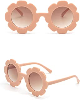 Toddler Kids Girl Boy Vintage Flower Round Anti-UV Sunglasses, Colorful Cute Eyewear Suit for Party Photography Outdoor Beach