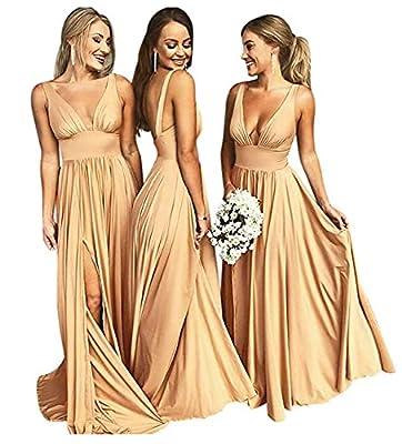 Gold Split V Neck Bridesmaid Dresses Long for Women Wedding Evening Golden Size 4
