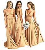 Women Sleeveless V Neck Split Bridesmaid Prom Formal Maxi Evening Long Dress Gold US4