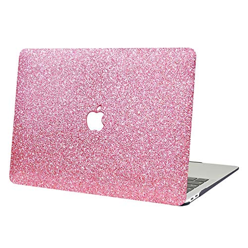 AUSMIX MacBook Pro 13 2019-2016 Case, 2 In 1 Bling Crystal Plastic Hard Shell Case Cover of Sparkly Glitter Series for New MacBook Pro 13 Inch Model A1706/A1708/A1989/A2159 -Shiny rose