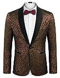 COOFANDY Men's Floral Party Dress Suit Stylish Wedding Blazer Prom Dinner Tuxedo Jacket Golden