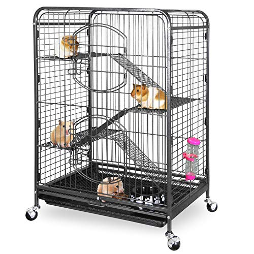 "ZENY 37"" Ferret Cage Rabbit Guinea Pig Chinchilla Small Animal House 4 Levels (Black)"
