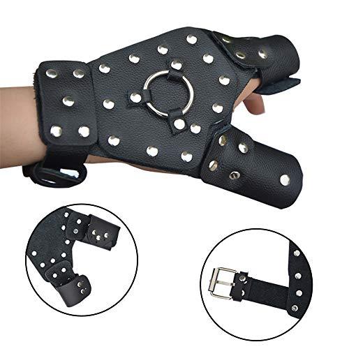 SHARROW Bogenschießen Handschutz Schutzhandschuh Armband Fingerschutz Fingertab für Bogenjagd Schleuder Katapult Angelrolle (Linke Hand)