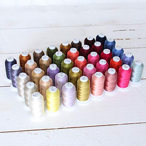 Threadart 40 Spool Polyester Embroidery Machine Thread Set Brilliant Colors   500M Spools 40wt   For Brother Babylock Janome Singer Pfaff Husqvarna Bernina Machines - 4 Sets Available