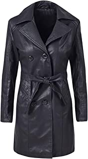 Funnygals - Women's Faux Leather Jackets, Motorcycle Long PU Moto Biker Full Zipper Outerwear Outwear Fitted Slim Coat