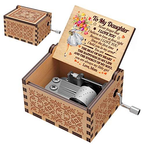 KKTICK Spieluhr mit Handkurbel, Hölzerne Handkurbel Spieluhr Vintage Hand Graviert aus Holz Spieluhr, Music Chests von Custom Vintage Edelstahl Handkurbel Spieluhr Weihnachtsgeburtstagsgeschenk