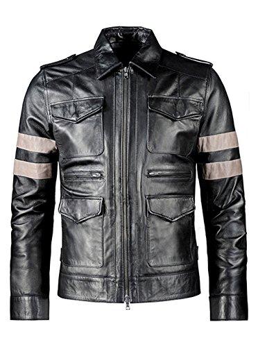VearFit Resident Evil SuperHero Black Pu Faux Leather Jacket for Men Movie Hero
